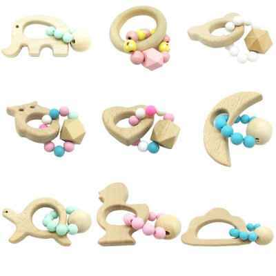Safety Wooden Natural Baby Teething Ring Cute Wood Animal Shape Teether Toy