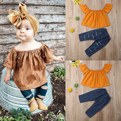 Toddler Kids Baby Girls Plain Off Shoulder Crop Top Long Pants Outfits Clothes