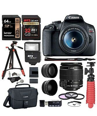 Canon EOS Rebel T7 24MP Camera with EF-S 18-55mm, 75-300mm Lenses And More!