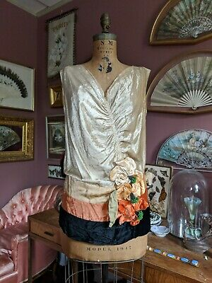 Antique 1920s 30s Velvet Blouse Art Deco Dress Rare Vintage Flapper Era