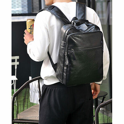 1 Pc Computer Bag PU Leather Men Anti-theft Bag Travel Bag for Shopping Camping