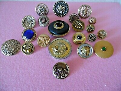Antique Brass and Metal. Victorian Buttons, Gay Nineties. Lot of 21