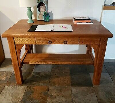 Antique Oak Arts & Crafts Mission Style Library Table
