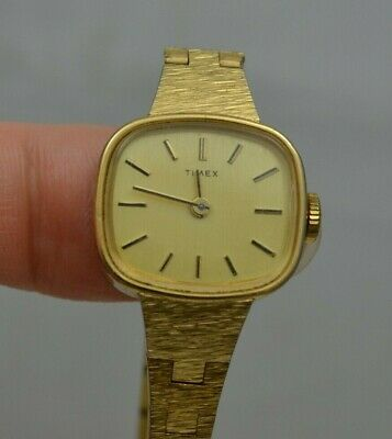 Vintage Timex Wristwatch Ladies Rectangular Body Gold Tone Hand Wind TESTED iw