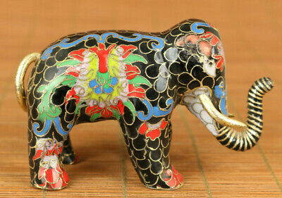 antique old cloisonne hand painting Elephant statue decoration delicate gift