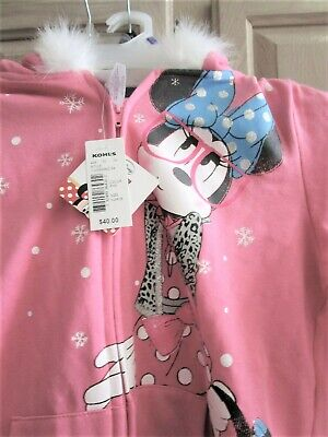Minnie Mouse Faux Fur Trimmed Hood Pink Hoodie Xl  Brand New