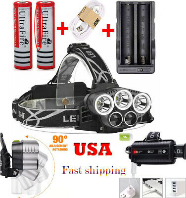Rechargeable 250000LM 5X T6 LED Headlamp Head Light Torch Lamp Charger USB 18650