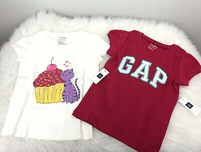 Baby Gap Girls Size 3T Tees Toddler Lot Of 2 Pink Logo And White Short Sleeves