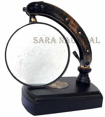 Antique Table TOP Desk Brass MOVEABLE Magnifier Magnifying Glass Descr