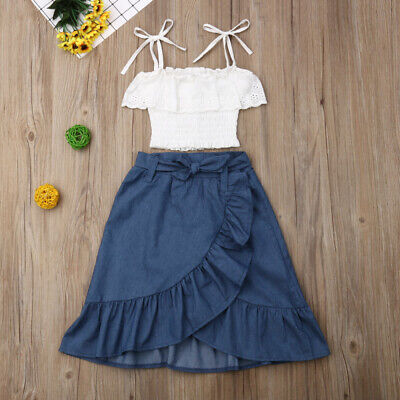 Kid Baby Girl Lace Sling Lace Top+Ruffle Denim Skirt Summer Sunsuit Outfits 2pcs