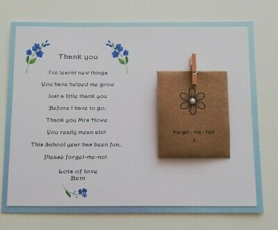 Thank You Poem Gift. Pre-school Nursery Teacher Assistant Forget-me-not seeds