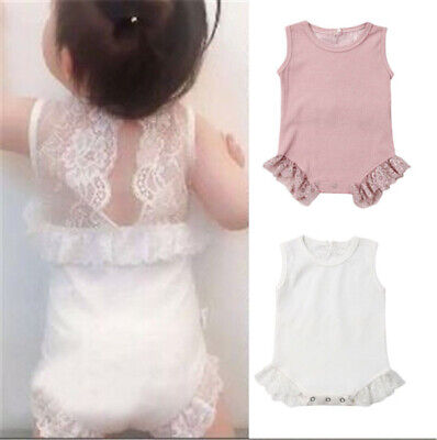 Infant Newborn Baby Girl Romper Lace Outfit Jumpsuit Playsuit Clothes Summer