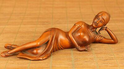 Chinese old boxwood hand carving sleeping beauty belle statue figue decoration