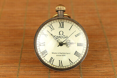 chinese old copper crystal mechanical movement pocket watch collectable