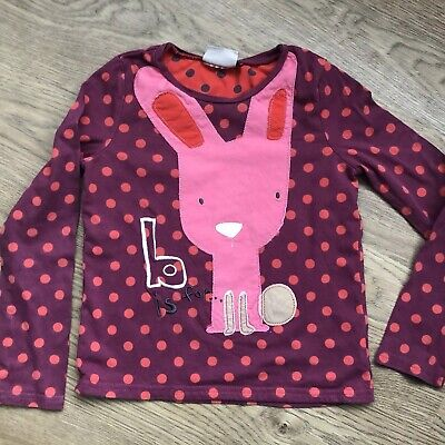 Next Girls Long Sleeve Purple Pink Spotted Rabbit Bunny Top Age 5-6 Years