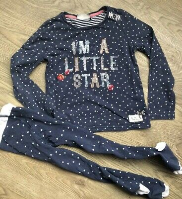 Next Girls Long Sleeve Blue Little Star Top Coordinated Tights Age 5-6 Years