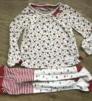 Next Girls Long Sleeve White Rose Flower Top  Coordinated Tights Age 2-3 Years