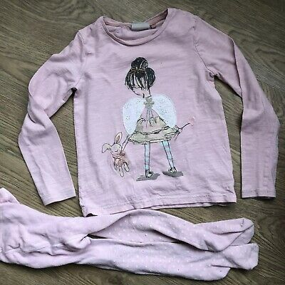 Next Girls Long Sleeve Pink Angel Wing Girl Top Coordinated Tights Age 5-6 Years