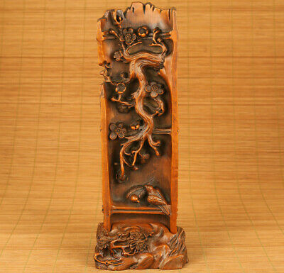 Asian old boxwood hand carving tree bird flower statue table home decoration