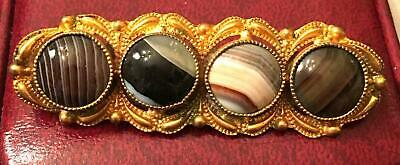 Antique Victorian Scottish Banded Agate Gold Gilded Brass Brooch Pin