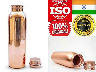 Pure Copper Water Bottle Flask Thermos 1L Taamba Container Ayurveda Yog Traveler