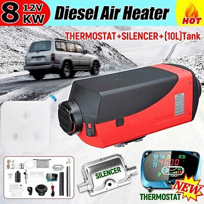 12V 8KW Diesel Air Heater Tank Vent Duct Thermostat Silencer Caravan Blue LCD IW