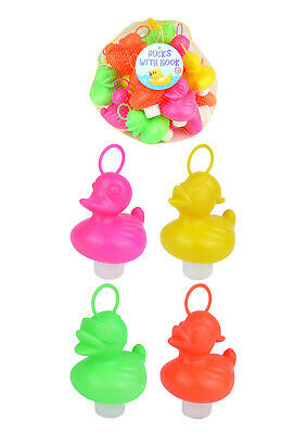 20 x Neon Colour Hook A Ducks Hard Plastic Toy Fishing Floating School Fete