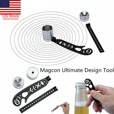 US 2pc Magcon Ultimate Design Tool Mini Compass Protractor Combo-Circles Drawing