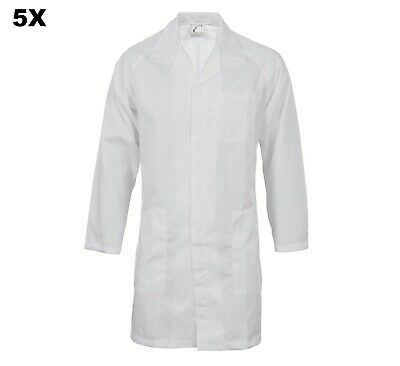 5X Food Industry Dust Coat Work Wear Lab Coat Dnc With Metal Press Studs Closure