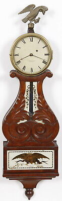 Elisha Durfee Providence RI Weight Driven Carved Curtis Lyre Banjo Clock