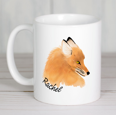 Fox painting mug personalised animal nature ceramic ideal gift any name printed