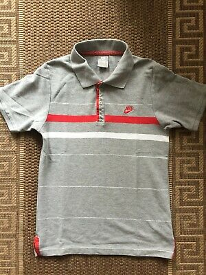 Nike Women Girls Ladies Polo T-shirt Cotton Top Grey Stripped Size S