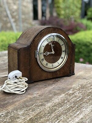 Vintage Smiths Sectric Wooden Mantel Clock Westminster Chime Antique Working