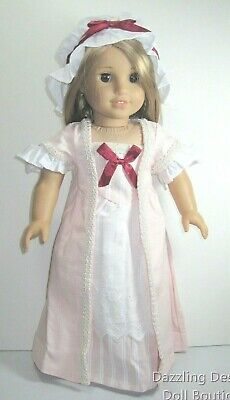 """Doll Clothes Colonial Dress & Cap Pink For 18"""" American Girl Elizabeth Felicity"""