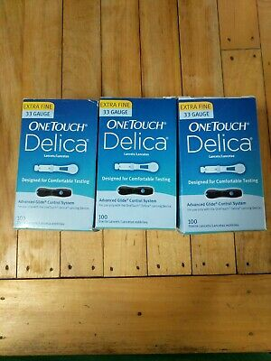 ONE TOUCH Delica Lancets 100 X 3 Boxes Extra Fine 33ga EXP: 2022 & 2023