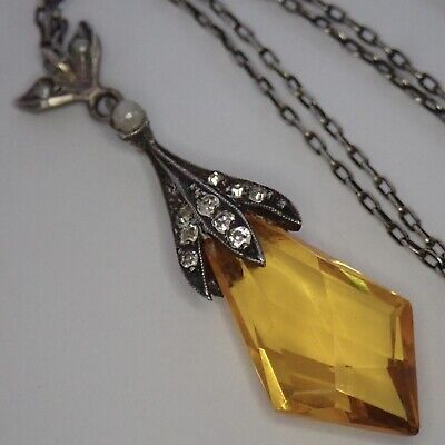Antique Art Deco Sterling Silver Seed Pearl Citrine Paste Pendant Necklace