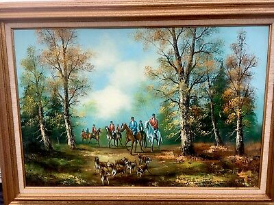 The Fox Hunt English Sporting Oil on Canvas Signed Lower Right