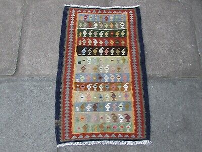 Old Traditional Hand Made Persian Oriental Wool Brown Small Kilim 87x56cm