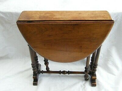 Antique-Superb Apprentice Piece Miniature Carved Mahogany Drop Leaf Table-c1890