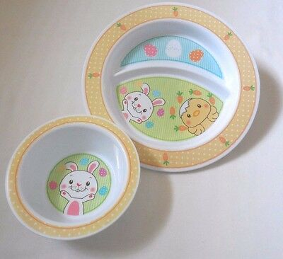 Munchkin Feeding Set Plate & Bowl NEW Rabbit Chick Yellow Sections Baby Toddler