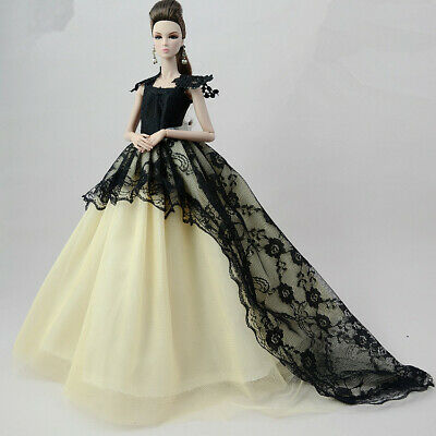 Handmade Princess Black Dress Party dress Clothes Outfit For 11-Inch Doll Toy