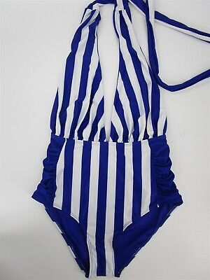 d0a16c033fb Nicole Miller New York V-Neck Convertible One Piece Swimsuit Striped Sz 10  3141