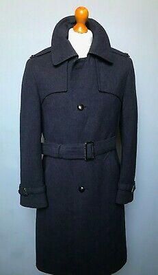Vintage single breasted  blue wool mac overcoat size 38