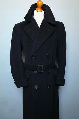 Vintage 1940's double breasted blue wool belted overcoat size 42