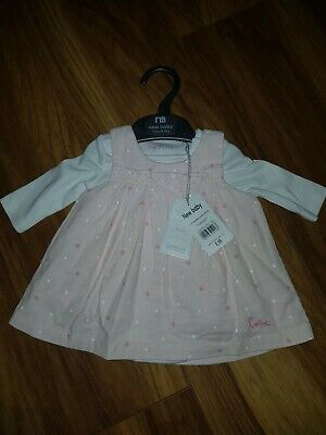 Mothercare 2 Part dress with long sleeve vest New baby 7.5 lbs/3.4 kg