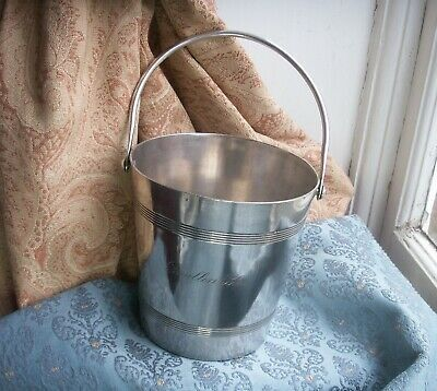 Old Antique Vintage Silver Plated French Ice Bucket Pavillon Bleu Coaster Fine