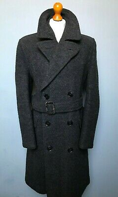 Vintage 1940's heavy grey belted double breasted overcoat size 42