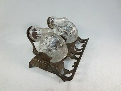 Antique Double Snail Glass & Cast Iron Inkwell with Pens Holder-Patented 1879