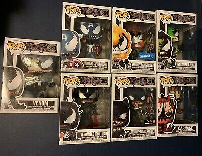 Funko Pop Marvel Venom Carnage Venomized Black Panther Ghost Rider Iron Man Lot