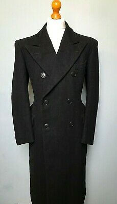 Vintage black 1940's double breasted overcoat size 42